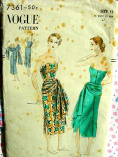 Vintage 50's VOGUE Pattern 7361  FABULOUS Back Wrapped by anne8865, $58.60