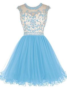 online shopping for Tideclothes ALAGIRLS Beaded Prom Dress Short Tulle Homecoming Dress Hollow Back from top store. See new offer for Tideclothes ALAGIRLS Beaded Prom Dress Short Tulle Homecoming Dress Hollow Back Hoco Dresses, Homecoming Dresses, Cute Dresses, Evening Dresses, Formal Dresses, Bridal Dresses, Pretty Dresses For Kids, Quinceanera Dama Dresses, Semi Dresses
