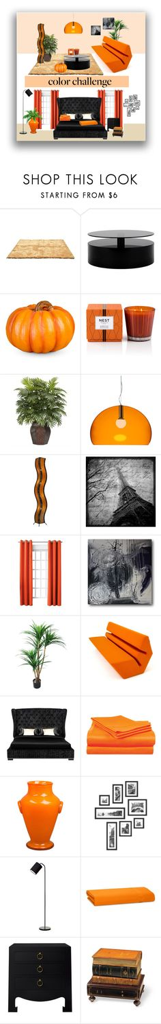 """""""Orange and Black"""" by marinadusanic ❤ liked on Polyvore featuring interior, interiors, interior design, home, home decor, interior decorating, Improvements, Nest Fragrances, Nearly Natural and Kartell"""