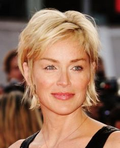 Sharon Stone Short Shag Hairstyle - Evening, Formal, Party -Careforhair.co.uk