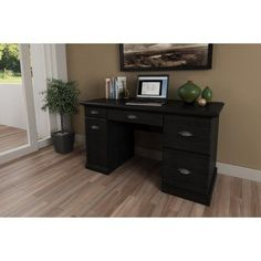 Classical Wood Desk with Three Drawers,File Storage, Keyboard Tray, Closed Storage, Cable Management, Keyboard Trays, Kitchen, Bedroom, Home Office,Furniture, Multiple Colors (Black Ebony Ask)