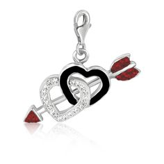 Sterling Silver Dual Heart Multi Tone Crystal Encrusted and Black Enameled Charm