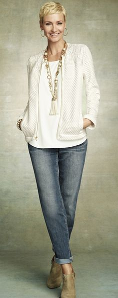 Winter White. Chico's Quilted Pieced Lace Jacket. #chicossweeps