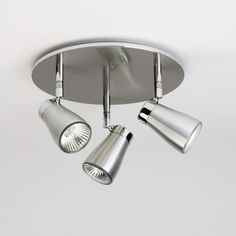 The Scala Triple Round Ceiling Light has a Brushed Aluminium Finish, IP20 rated for use outside Zone 2 in a Bathroom. Astro 6042