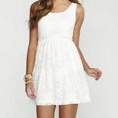 Simple white dress.