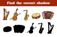 Find the correct shadow (musical instruments) royalty free illustration Preschool Games, Activities For Kids, Music Notes Decorations, Shapes For Kids, Memory Games, Kids Cards, Cello, Musical Instruments, Musicals