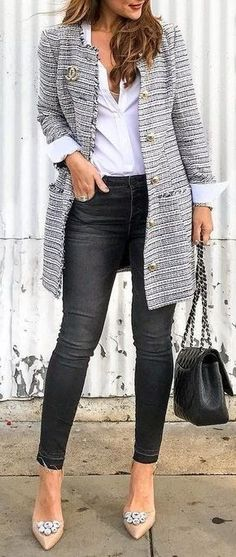 Tendances mode automne-hiver My closet my style when i get rich Chic Winter Outfits, Casual Outfits, Spring Outfits, Casual Attire, Office Outfits, Long Cardigan Outfits, Casual Summer Outfits With Jeans, Office Clothes Women, Fall Work Outfits