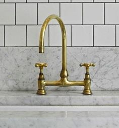 The brass Deck-Mounted Faucet with Gooseneck Spout by family-owned UK company Barber Wilson is $716 at Quality Bath. From Trade Secrets: Not...