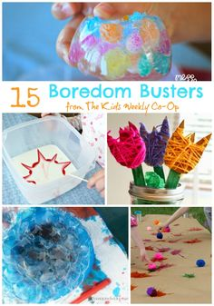 "15 Boredom Busters from The Kids Weekly Co-Op. Great ideas and activities for when kids say ""I'm bored!"""