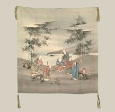 """Silk Gift Cloth - Late Edo (1825-1868). A silk gift cover featuring seven sages in a bamboo grove. The theme """"Seven Sages in the Bamboo Grove"""" has a long history in both Chinese and Japanese art. Part fact and part legend, the seven sages were Taoists supposedly endowed with supernatural powers. They rejected the authority of Confucian teaching and government, opting instead for a reclusive lifestyle. 26"""" x 27"""". Yorke Antique Textiles"""