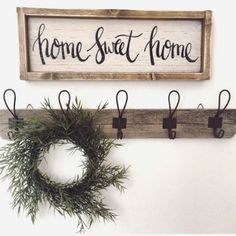 I have been waiting to feature these pieces for so long and I love how they look in my entryway! I'm still searching for the perfect little bench but I couldn't wait to show you guys these barn wood hooks from /curtiscreation/ and this home sweet home sign from @jesterfarms Check out the blog post, link is in my bio.