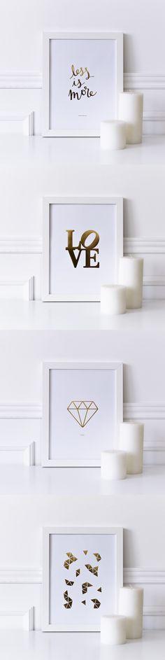 Láminas doradas | Han llegado muchas láminas nuevas a Kenay Home. Con estampados naturales, iniciales, o motivos dorados. Elige la que más te gusta o combínalas. #decoracion #kenayhome #deco #decor #style #gold #staygold #lamina #dorado #lessismore #diamante #diamonds #shine #love #white #walldecor #vela