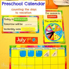 Preschool Calendar - counting the days to vacation | Brie Brie Blooms