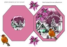 christmas snow scene with robin   pink poinsettias on Craftsuprint - View Now!
