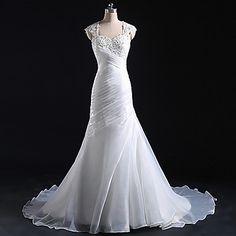 Trumpet/Mermaid Wedding Dress Court Train Straps Tulle – USD $ 199.99