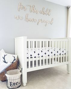 Mindful Gray SW 7016 nursery Mindful Gray, Cribs, Master Bedroom, Nursery, Children, Baby, Furniture, Instagram, Home Decor