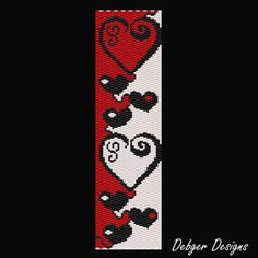 Heart Chain 2 Beaded Peyote Bracelet Cuff by FUNPATTERNDESIGNS Peyote Stitch Patterns, Seed Bead Patterns, Weaving Patterns, Jewelry Patterns, Bracelet Patterns, Bead Loom Bracelets, Peyote Bracelet, Peyote Beading, Loom Bracelets