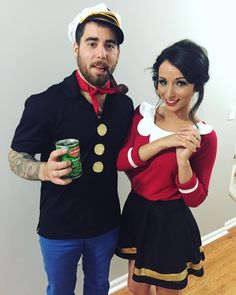 Popeye and Olive Oyl DIY Halloween couples costume