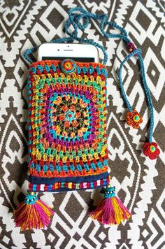 Crochet Granny Square bag for iPhone6