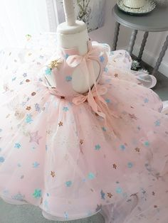 Constellation Gown by Anna Triant Couture Little Girl Gowns, Gowns For Girls, Little Girl Dresses, Flower Girl Dresses, Ball Dresses, Cute Dresses, Kids Gown, Pastel Outfit, Baby Girl First Birthday