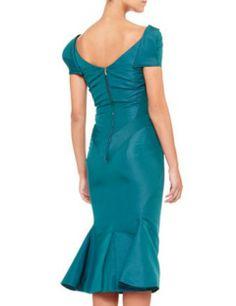 ZAC POSEN Short Sleeve Silk Duchesse Dress