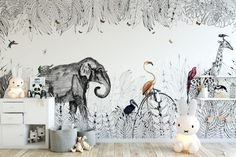 Panoramic wallpaper in the children's room, on the theme of the jungle. A safari decor in the children's room! Wallpaper Collection, Safari Decorations, Bedroom Layouts, Natural Home Decor, Kids Decor, Boy Room, Cheap Home Decor, Kids Bedroom, Wall Murals