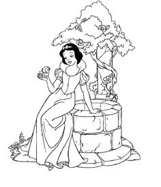 Princess Snow White Near Well Coloring Pages