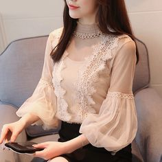 Hot women's clothing lantern sleeve lace tops shirt blouse l Stylish Dresses For Girls, Stylish Dress Designs, Lace Tops, Chiffon Tops, Chiffon Shirt, Chiffon Blouses, Lace Chiffon, Sleeves Designs For Dresses, Blouse Designs