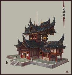 chinese temple, Chen Cheng on ArtStation at https://www.artstation.com/artwork/DQPJA