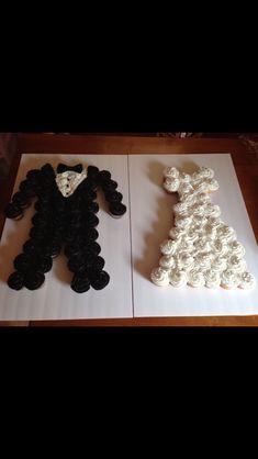 Bride and groom tuxedo cupcake cake