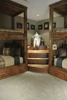 Bedroom:Good Looking Bunk Beds With Stairs Trend Other Metro Rustic Bedroom Decorators With Built In Bunk Bed Bunk Bed Bunk Bed Stairs Cabin Lodge Rustic Ideas Rustic Modern Bed with Headboard Bed Stairs, Bunk Beds With Stairs, Corner Bunk Beds, Cool Bunk Beds, Bunk Rooms, Bedrooms, Preteen Boys Bedroom, Bedroom 2018, Master Bedroom