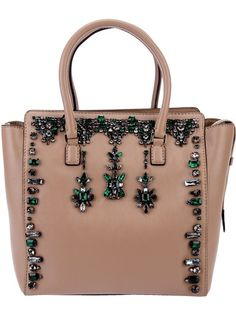 Nude leather tote from Valentino featuring two handles