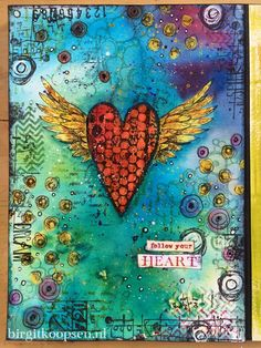 Gorgeous colourful art journal page by Birgit Koopsen