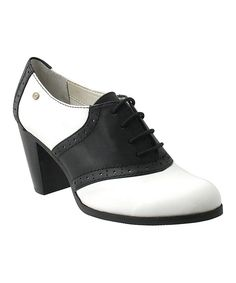 White & Black Eloise Leather Bootie by G.H. Bass & Co #zulilyfinds