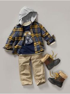 Great layered up look for toddler boys this fall/winter!