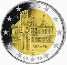 euro: Federal state of Bremen.Country: Germany Mintage year: 2010 Issue date: February 2010 Face value: 2 euro Diameter: mm Weight: g Alloy: Bimetal: CuNi, nordic gold Quality: Proof, BU, UNC Mintage: 30 mil. Piece Euro, Euro Coins, North Rhine Westphalia, Commemorative Coins, Gold Bullion, World Coins, Coin Collecting, Stamp, Bremen Germany