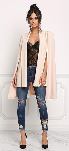 #winter #outfits black sheer lace top, distressed blue washed jeans and beige coat outfit