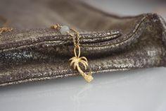 Palm Tree Necklace l 14K Gold Filled chain Necklace l Vermeil Palm Tree Pendant l Nature l