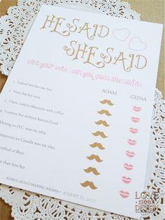 Printable Bridal Shower Game He Said She Said by LoveMeetDesign