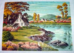 Vintage Completed Paint by Numbers Oil Painting of Cottage Lake Autumn Nice | eBay