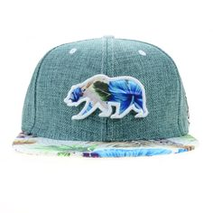 2d65128acc6 Hangroots removable bear patch on teal pearl hemp snapback. Matching  tropical print floral brim.