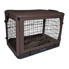 Pet Gear The Other Door Steel Crate with Fleece Pad for Cats and Dogs Up to Chocolate : Fold Flat Pet Crate : Pet Supplies Steel Dog Crate, Crate End Tables, Dog Crate Table, Cat Merchandise, Dog Cages, Pet Gear, Dog Car Seats, Crate Training, Gatos