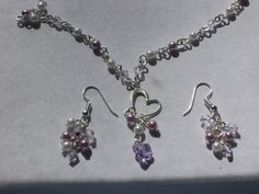 purple & white pearl beads heart with crystal butterfly necklace earring set  #Handmade