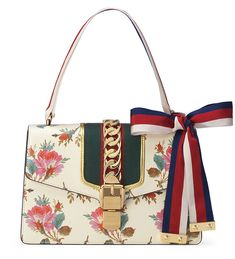 3129be60a44 Gucci Sylvie Small Rose Floral Leather Shoulder Bag