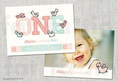 PRINTABLE One Girl 1st Birthday Duckies Party Invite | Custom Pink Baby Ducks Whimsical Cute Kids Party Invitation PRINTED CARD / jpg / pdf