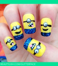 Glittery 3D 'Despicable Me 2' Inspired Nails | Glitterface