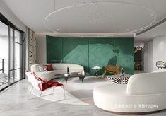 Hall Room Design, Modern Interior Design, Interior Architecture, Living Area, Living Spaces, Neoclassical Interior, Curved Sofa, Mid Century Design, Luxury Living
