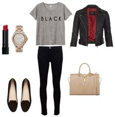 """-red lipstick -gold watch -black flats with red trim -gray tee shirt with """"black"""" -leather jacket -tan purse"""