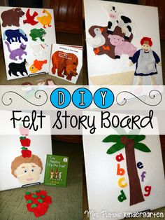 Can laminate then put on rough side of velcro and have a felt board you put all the stuff to. Help young students ddevelop story sense and retelling skills with this super simple DIY Felt Board for Story Retelling Flannel Board Stories, Felt Board Stories, Felt Stories, Flannel Boards, Preschool Literacy, In Kindergarten, Book Crafts, Felt Crafts, Toddler Activities