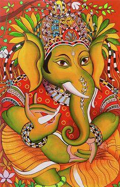 Aum Drawing - Ganesha Mural Art by Asp Arts Ganesha Painting, Ganesha Art, Madhubani Painting, Jai Ganesh, Madhubani Art, Kerala Mural Painting, Indian Art Paintings, Canvas Paintings, Traditional Paintings